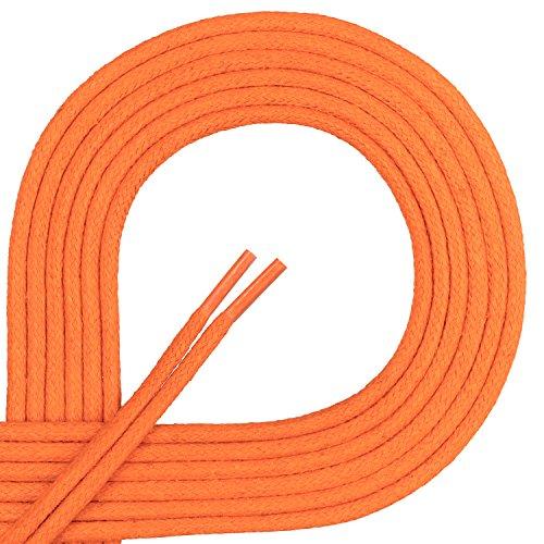 Di Ficchiano Premium Laces Waxed, Round Laces for Leather Business Shoes, Diameter 2-3mm, Length 45-120cm, Tear-Resistant Orange