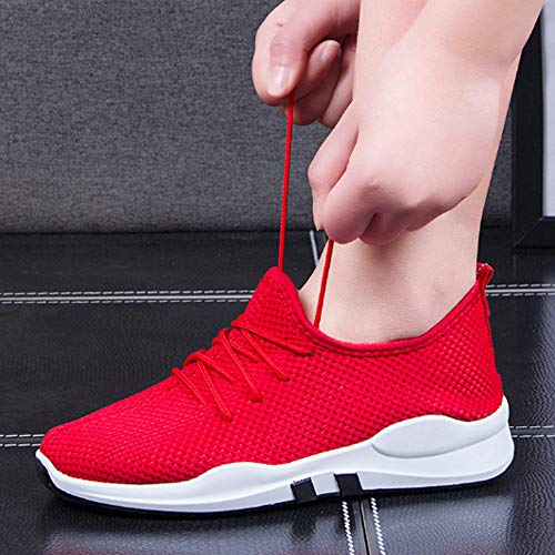 Breathable Running Fashion Student Outdoor Solid Mesh Women FALAIDUO Casual Soft Soft Autumn Sneaker Red Teen Winter Shoes Shoes Running Color qB4fSS7