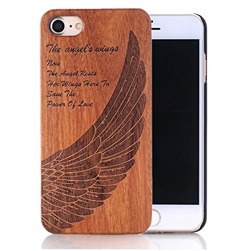 Sunroyal Iphone 6 Plus 6s Plus 5.5 Relief Handmade Premium Quality Genuinely Natural Unique Hard Strong Heavy Duty Stylish Snap on Brown Angel Wing P…