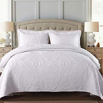 Image of ABREEZE Vintage Floral Quilt Roses Paisley Quilt Bedspread Coverlet 3PCS Luxury Bedding Set King Size White