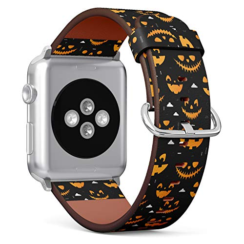 ((Orange Halloween Pumpkins Carved Faces Silhouettes on Black Background) Patterned Leather Wristband Strap for Apple Watch Series 4/3/2/1 gen,Replacement for iWatch 42mm / 44mm)