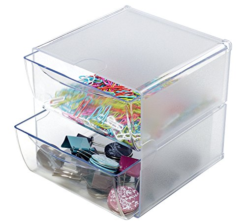 Deflecto Stackable Cube Organizer, Desk and Craft Organizer, 2 Drawers, Clear, Removable Drawers and Dividers, 6″W x 6″H x 7 1/8″D (350101CR)