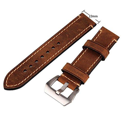 Lederarmband für Herren-Armbanduhr, Schnalle aus Edelstahl, 22mm, Braun