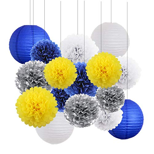 Yellow Navy Blue White Sliver Bridal Shower Decorations-16 pcs of Tissue Paper Pom Pom Paper Lanterns Yellow Navy Blue Themed Party Wedding Baby Showe Decoration (Yellow,Navy Blue,White,Sliver)]()