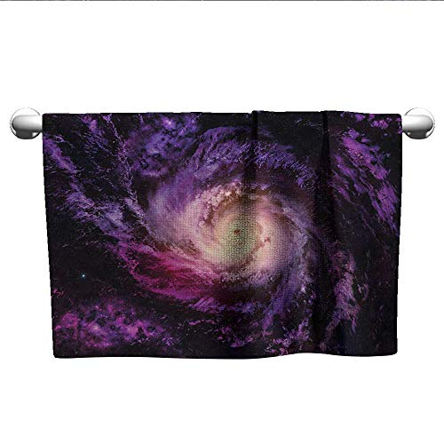 Personalized Hand Towels Galaxy,Purple Nebula Cloudy Stardust Cluster Digital Print of a Galaxy in Space Image,Black Purple,Towel Dress for Girls