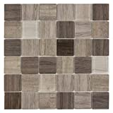 MTO0384 Classic Squares Brown Beige Wood Grain Glass Mosaic Tile
