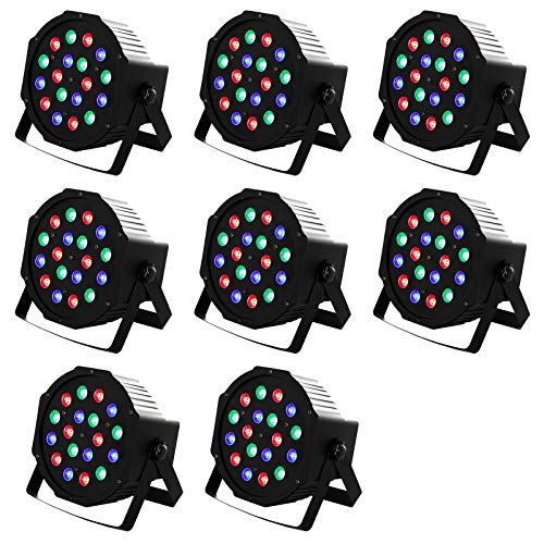 LED Par Can Lights 8 Pack DMX Stage Lights Uplights 18LEDs DMX Lighting 7 Modes DMX Controll Sound Activated for Stage Lighting Club Party Show DJ Diso KTV,8 Pieces 18x3Watts