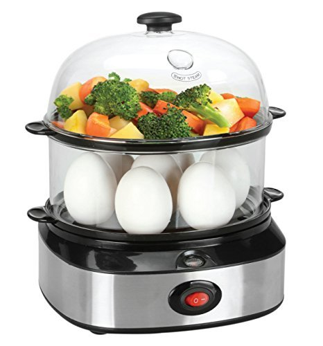FLYZOE Food Steamer, Double Tier Electric Multi Function Egg Cooker With Poacher and Steamer Attachments