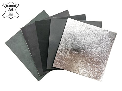 Metallic Embossed Leather (Gray Italian Leather for Crafts: Gray and Metallic Leather Sheets 5x5 in/~2oz)