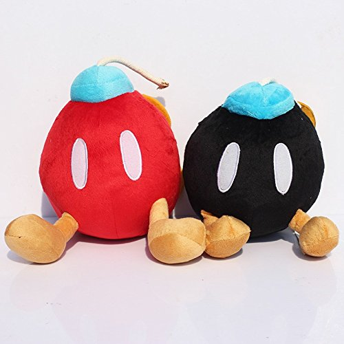 Super Mario Plush 5.2 Inch / 12cm Bob-omb Bomb 2pcs Set Doll Stuffed Animals Figure Soft Anime Collection Toy