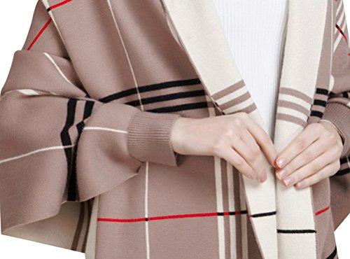 Bellady Wool Cardigan Coat Tassel Plaid Batwing Ponchos Cape Shawl Wrap, Khaki