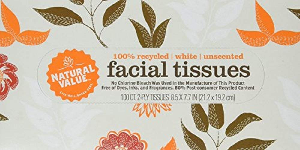 Natural Value 100% Recycled Facial Tissue, 100 2-Ply Sheets Per Box (Pack of 30) by Natural Value