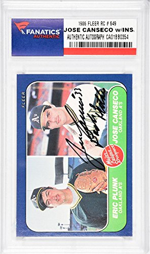 - Jose Canseco Oakland Athletics Autographed 1986 Fleer #649 Rookie Card with Bash Brother Inscription - Fanatics Authentic Certified