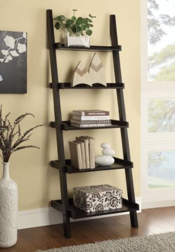 Cst Tier - Espresso finish wood 5 tier leaning bookshelf with back and side guards