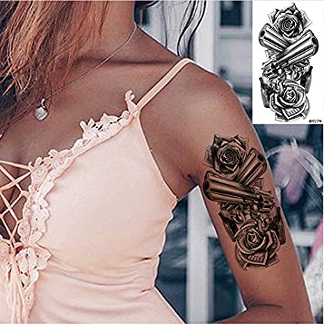yyyDL 3D Flower Gun Tatuajes temporales Mujeres Pegatina Cuerpo ...