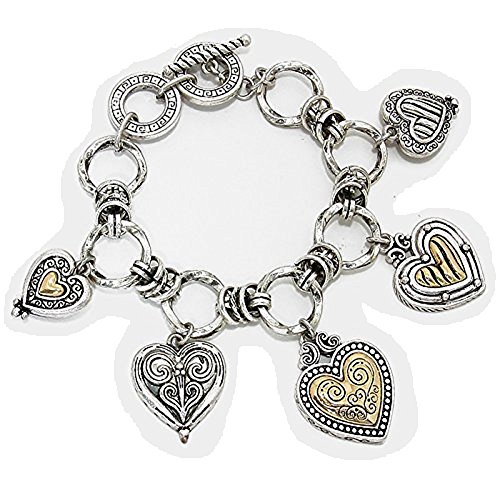 (Silver Art and Gold Textured Heart Reversible Charm Bracelet)