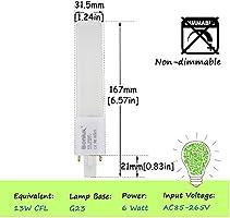 Bonlux 2-Pack 6W LED PL Retrofit Lamp G23 2-Pin Base 13W CFL/Compact on