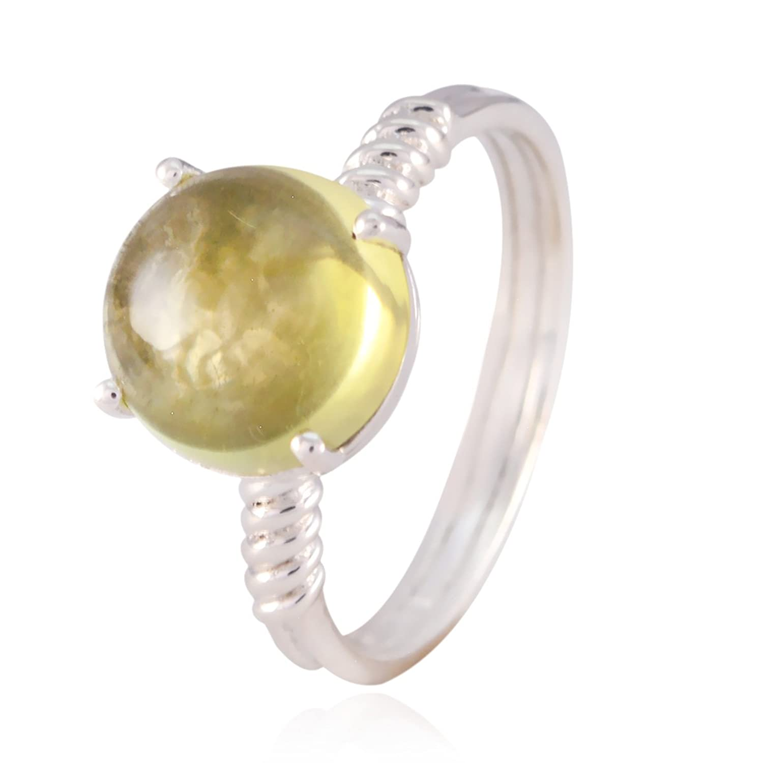Sterling Silver Yellow Citrine Genuine Gems Ring Daughter Jewelry Highest Selling Items Gift for Teachers Day Highest Ring Genuine Gems Round cabochon Citrine Rings