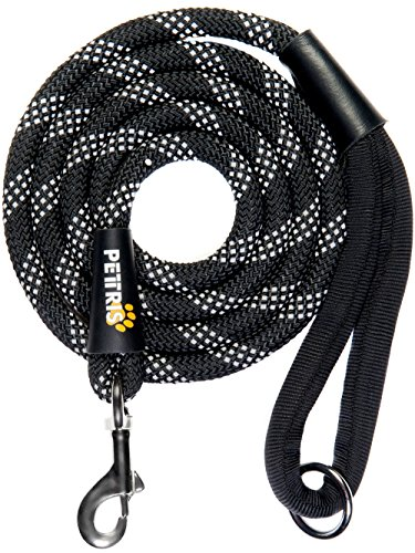 Heavy Duty Rope Leash (PETTRIS Heavy Duty Reflective Rope Leash for Large and Medium Dogs - 1/2 Inch Thick x 6 Foot Long - Strong Nylon Climbing Rope Lead for Big Dogs with Soft Padded Handle and O-Ring)