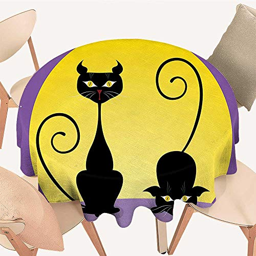 Round Premium Tablecloth Two Black Kitties in Front of Full Moon Starry Night Halloween Image Violet Stain Resistant, 39 INCH -