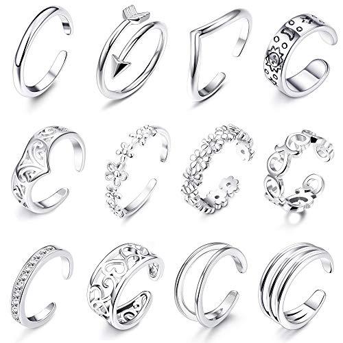 Silver Toe Silver Ring Tone (LOLIAS 12Pcs Open Toe Rings for Women Girls Arrow Adjustable Toe Band Ring Gifts Jewelry Set,Silver)