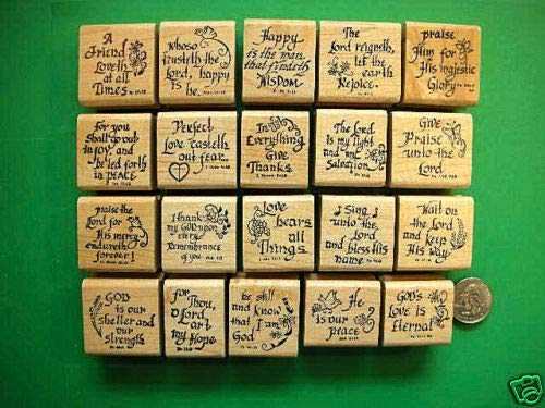 20 Scripture Stamps, Wood Mounted, Set #1 - Rubber Stamp Wood Carving Blocks by Wooden Stamps