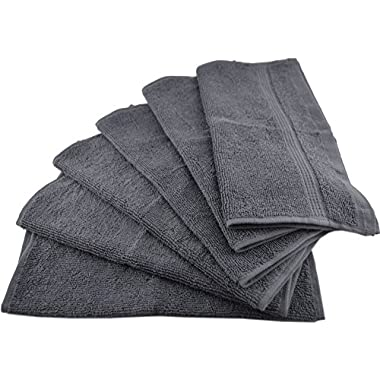 Utopia Luxury 100% Cotton Washcloths Easy Care, Ringspun Cotton for Maximum Softness and Absorbency, 12-Pack - Gray (13  x 13 )