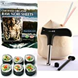Raw Organic Nori Sheets 200 qty Pack + CocoDrill Coconut Opener Tool -- Certified Vegan, Raw, Kosher Sushi Wrap Papers - Premium Unheated, Un Cooked, untoasted, dried - RAWFOOD