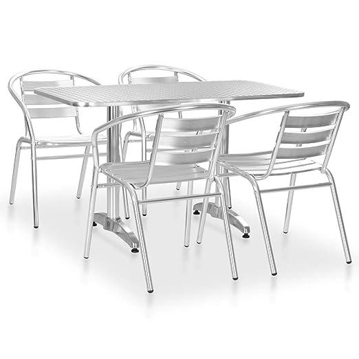 Tidyard 5 Piezas Muebles de Comedor de Jardín Conjunto Mesa y ...
