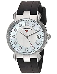 Swiss Legend SL-16591SM-02 Women's Layla Quartz Stainless Steel and Silicone Automatic Wrist Watch, White Dial with Black Band