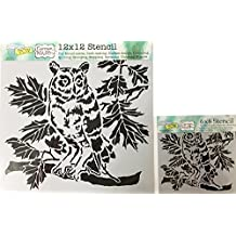 The Crafter's Workshop Set of 2 Stencils - Curious Owl 12x12 Large and 6x6 inch Mini - Includes 1 each TCW609 and TCW609s - Bundle 2 Items