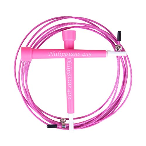 Jump Rope by Godly Living in Pink - Best for Boxing, Mixed Martial Arts, Speed, Survival, Cross & Endurance Training. Adjustable 9.5-foot Cable Fits Most Men & Woman and Comes with a Carrying Bag