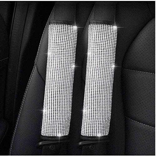 ZB 2Pcs Crystal Diamond Seat Belt Shoulder Pads Bling Bling Car Safety Belt Covers Sparkly Auto Car Decoration Accessories for Women or Girls