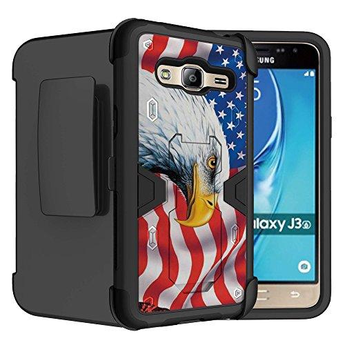 Untouchble Case for: Samsung Galaxy Sky, J3 V, Amp Prime, Express Prime, J3 (2016), Sol Case [2016 Models Only] Case Dual Layer Holster Belt Clip Kickstand Case Combo - Majestic (Majestic Belt)