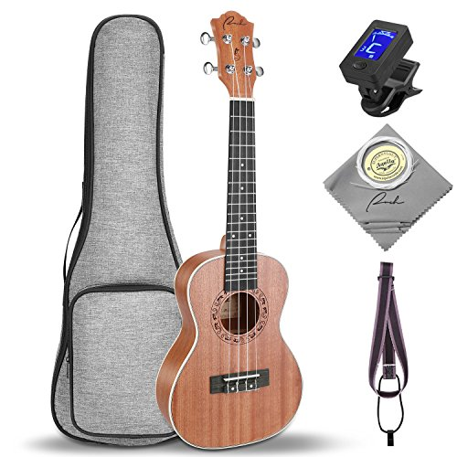 Soprano Ukulele Ranch 21 inch Professional Wooden ukelele Instrument Kit With Free Online 12 Lessons Small Hawaiian Guitar Beginner ukalalee Starter Pack Bundle Gig bag&Tuner&Strap&4 Aquila String Set - Ranch 11