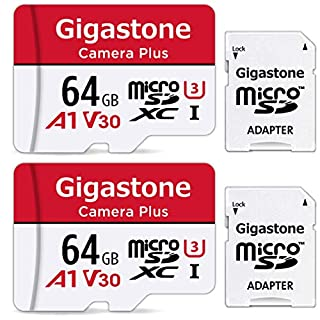 Gigastone 64GB 2-Pack Micro SD Card, Camera Plus, Nintendo Switch Compatible, High Speed 95MB/s, 4K Video Recording, Micro SDXC UHS-I A1 Class 10