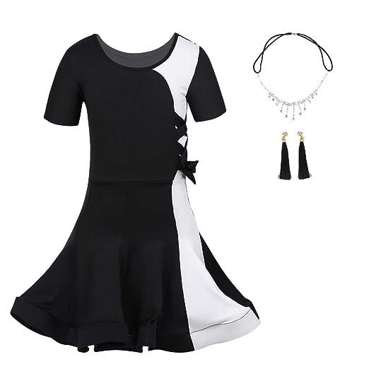 cd8f385a6535 iEFiEL Kids Girls Dancewear Outfit Irregular Tassel Latin Salsa Tango Dance  Dress Costumes Black Dancer 3