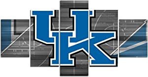 Kentucky Wildcats Wall Decor Art Paintings 5 Piece Canvas Picture Artwork Living Room Prints Poster Decoration Wooden Framed Ready to Hang(60''Wx32''H)