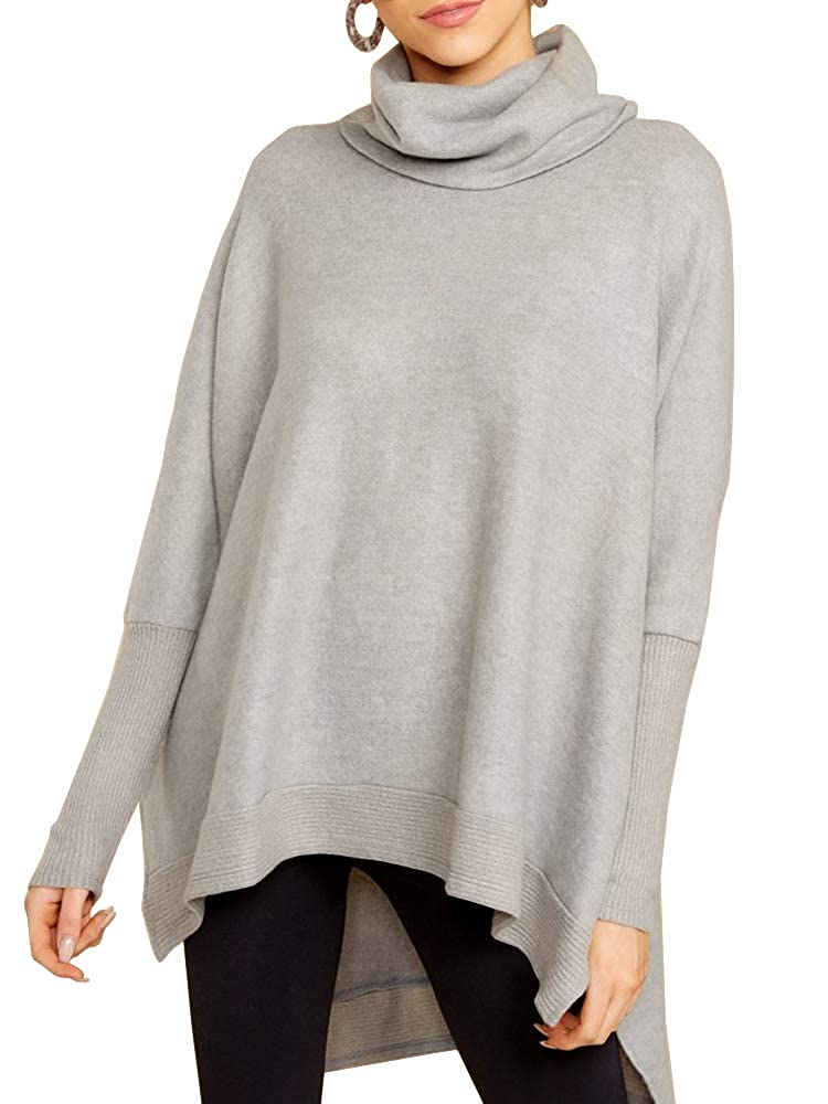 Haloumoning Womens Turtleneck Sweaters Batwing Sleeve Oversized Casual Ribbed Knit Lightweight Pullover