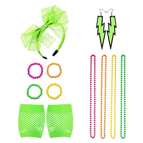Icevog 80s Disco Party Costume Accessories Set Lace Headband Gloves Vintage Neon Earrings Necklace Bracelet -