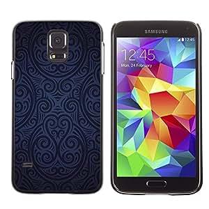 TECHCASE**Cubierta de la caja de protección la piel dura para el ** Samsung Galaxy S5 SM-G900 ** Wallpaper Pattern Blue Black Random Art