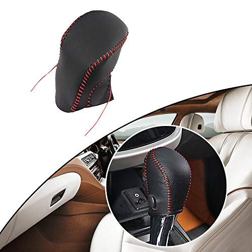 - Maite Hand Sew Non-slip Leather Car Gear Shift Knob Cover Automatic Transmission for Nissan Sentra Sylphy Tiida LIVINA Rogue Car Styling Red Line Type A