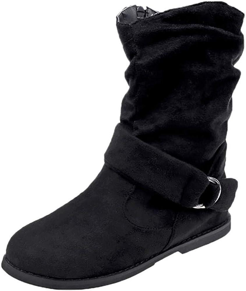 Botas Cortas para Mujer,ZARLLE Moda Medio Militar Botas Mujer Hebilla Cuero Artificial Calzado De Dama Botas CláSicas Talla Grande Zapata Suela Blanda Vintage Botines Botas del Medio
