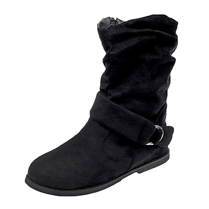 c24a2d82da1 Womens Vintage Buckle Strappy Snow Boots,Warm Soft Sole Party Zipper Flat  Shoes Middle Ankle Boots 5.5-9.5