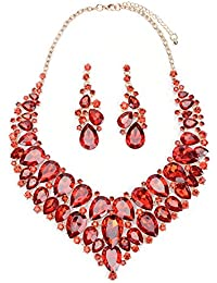 Crystal Statement Choker Necklace and Earrings Sets for Women Wedding Jewelry Set Valentine's Day Gifts