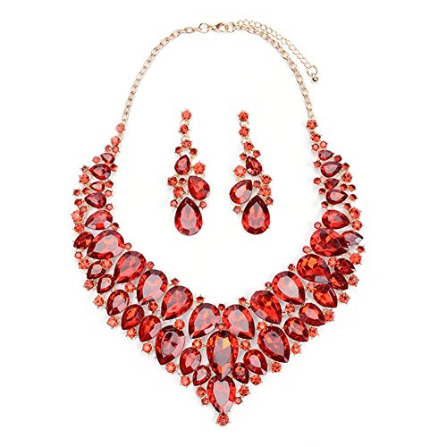 Opal Costume Jewelry (Wedding Jewelry Sets - Red CZ Crystal Rhinestone Statement Necklace and Dangle Earrings Teardrop Custome Jewelry Sets for Brides)