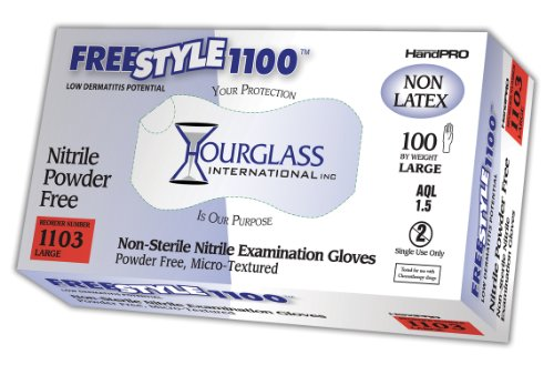 1100 Glove - Hourglass HandPRO FreeStyle1100 Nitrile Glove, Exam, Powder Free, 240mm Length, 0.06mm Thick, Large (Box of 100)