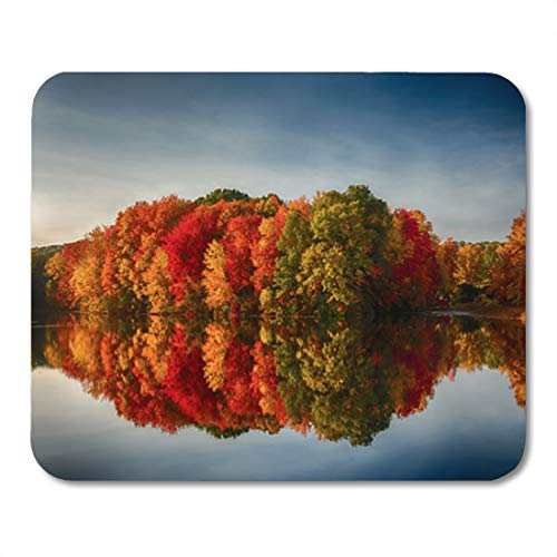 Semtomn Gaming Mouse Pad Foliage Fall Colors Reflecting in Pond Water Reflection Leaves Ashland 9.5