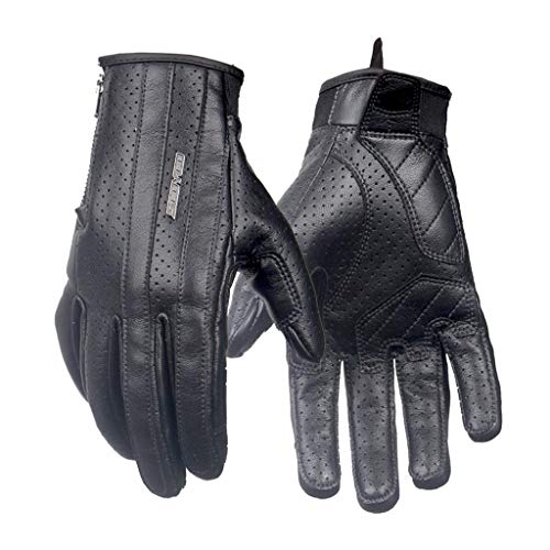 AMCER Black Cycling Gloves Full Finger Protective Breathable Icrofiber Leather Retro Design Motorcycle Riding Touch Screen Motocross Protective Gear Black Large