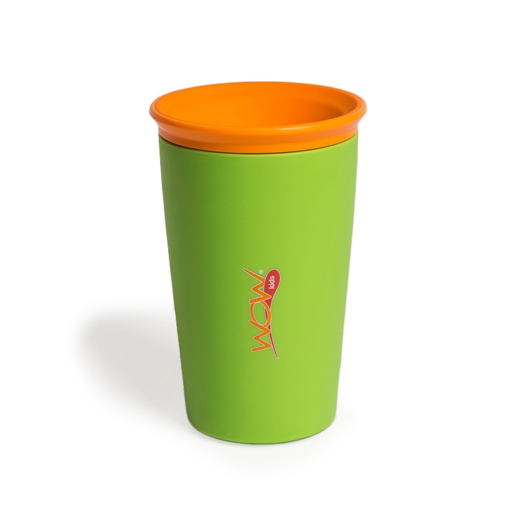 Wow Cup for Kids Original 360 Sippy Cup, Green with Orange Lid, 9 oz